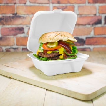 Vegware 6in cukornád Hamburger doboz - 152 x 148 x 79 mm